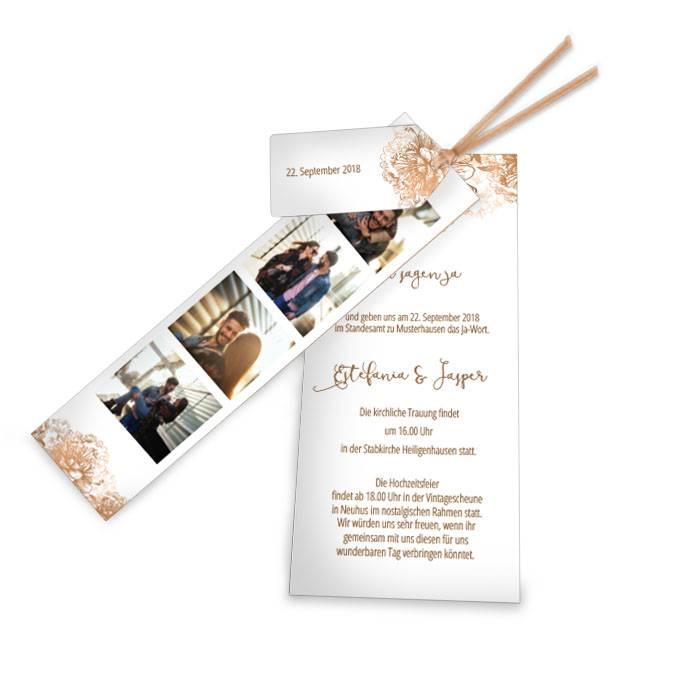 Hochzeitseinladung Weiß und Kupfer mit Fotostreifen