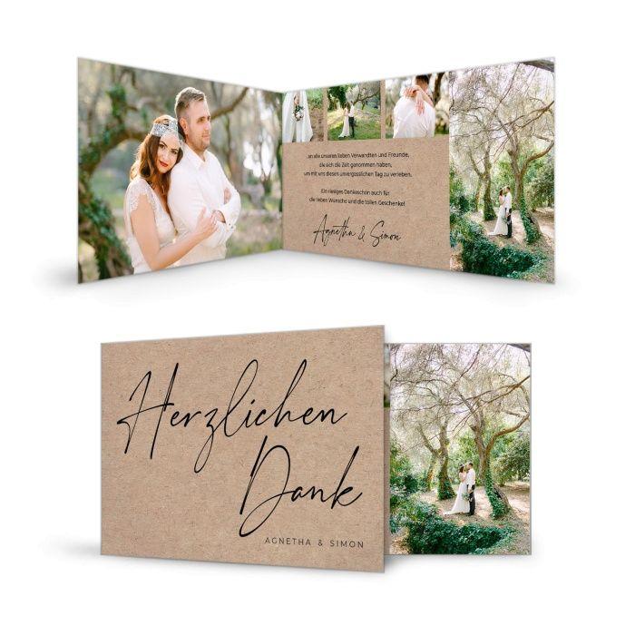 Moderne Danksagung zur Hochzeit in Kraftpapieroptik und toller Typografie