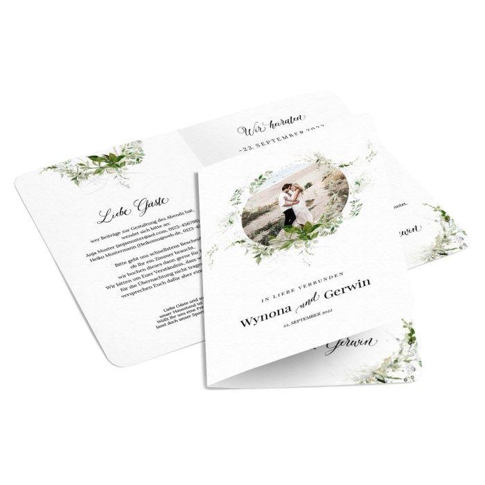 Moderne Greenery Hochzeitseinladung mit Aquarellkranz und Foto