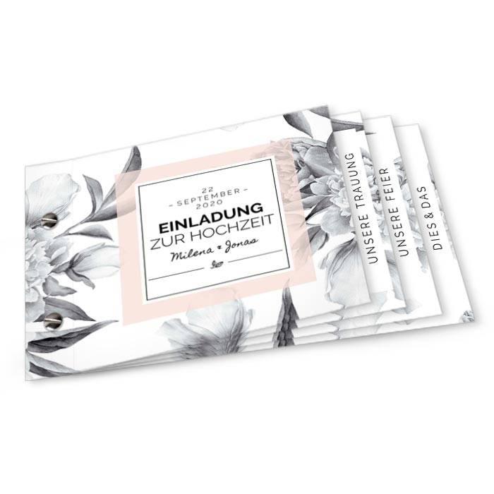 Moderne Hochzeitseinladung als Booklet im floralen Design