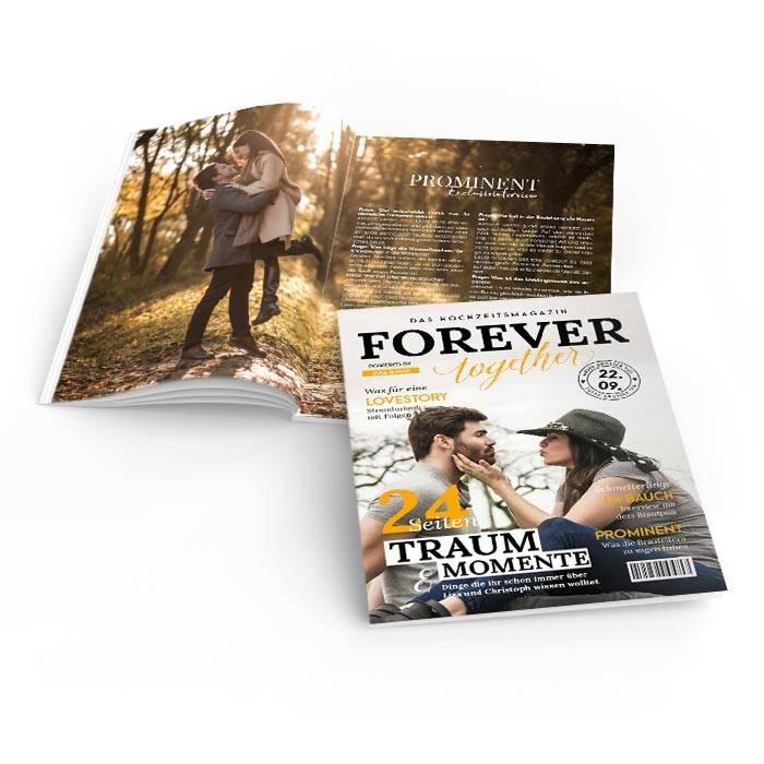 Moderne Hochzeitszeitungen im Magazin Style mit gelben Titeln
