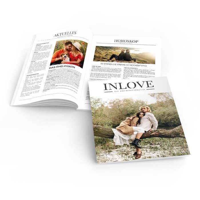 Moderne Hochzeitszeitung InLove mit großem Foto