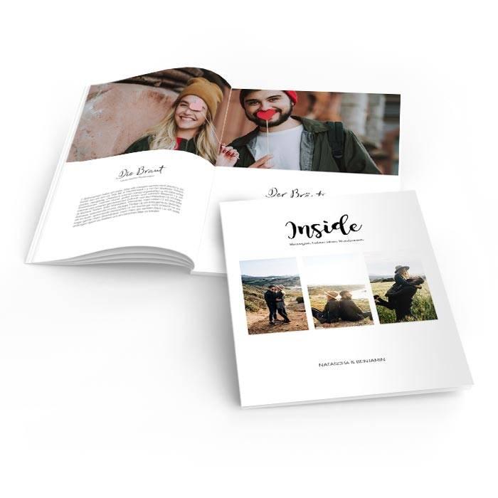 Moderne Hochzeitszeitung mit Brushschrift und drei Fotos