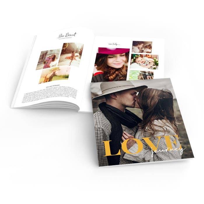 Moderne Hochzeitszeitung mit großem LOVE Schriftzug und Foto