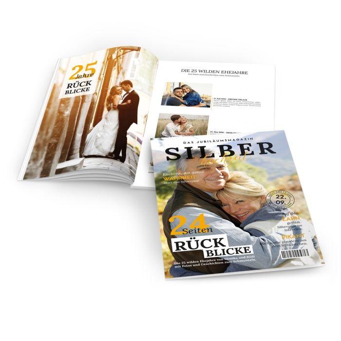 Moderne Silberhochzeits Zeitung im Magazin Style mit gelben Titeln - online selbst gestalten