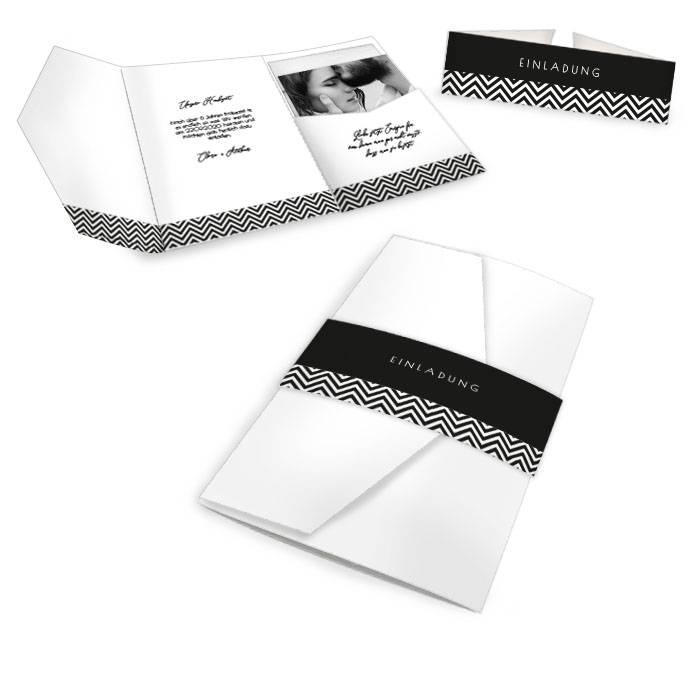 Hochzeitseinladung als Pocketfold in schlichtem Schwarzweiß