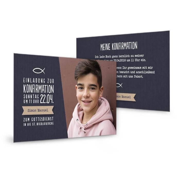 Moderne Einladung zur Konfirmation als Postkarte in Blau