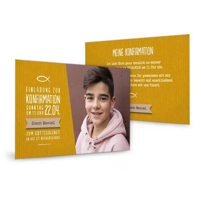 Moderne Einladung zur Konfirmation als Postkarte in Gelb