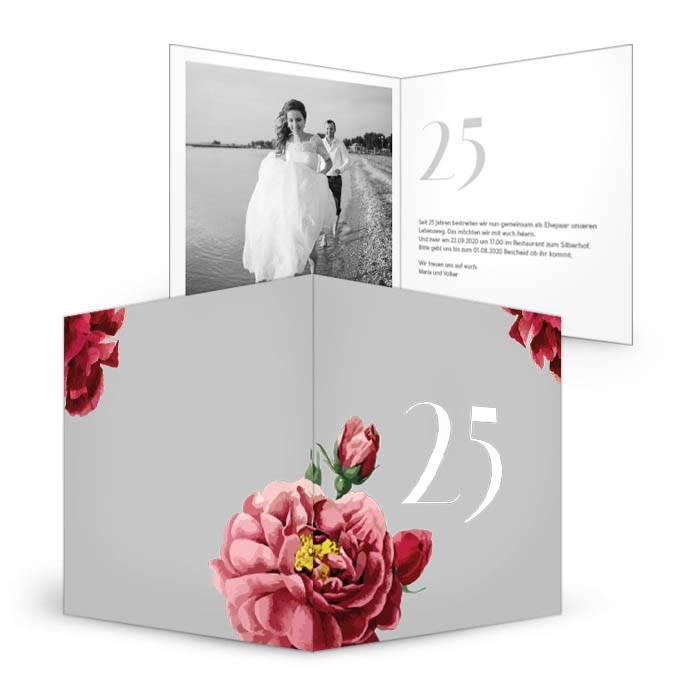 Moderne Einladung zur Silberhochzeit mit großen Blüten