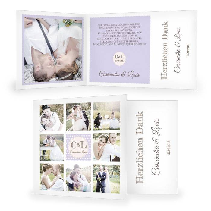 Hochzeitsdanksagung im Retrostil in Flieder mit vielen Fotos