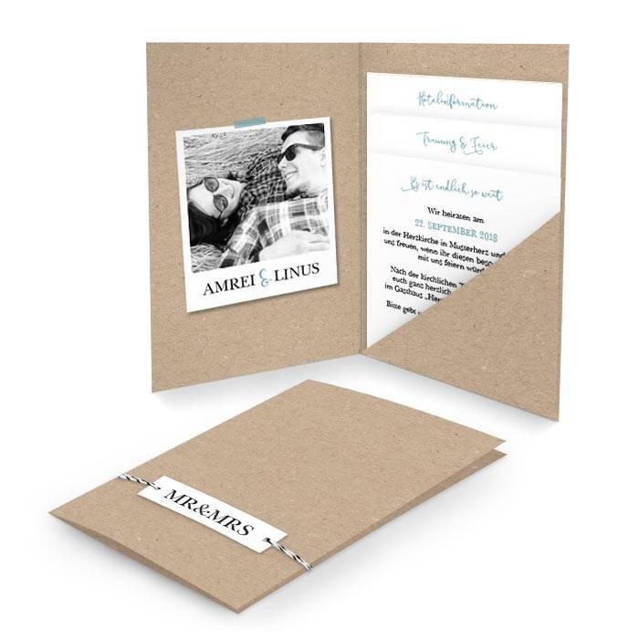 Hochzeitseinladung als Pocketfold in Kraftpapieroptik mit Foto