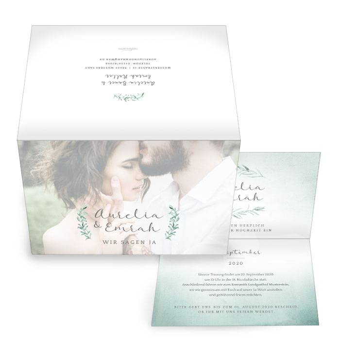 Hochzeitseinladung im Greenery Stil mit Watercolor-Verlauf