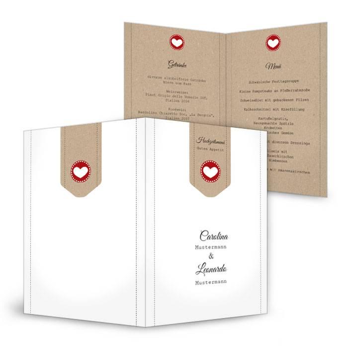 Moderne Menükarte in Kraftpapieroptik und rotem Herz