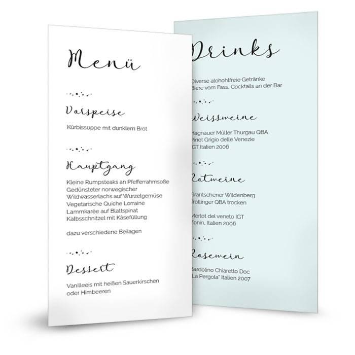 Moderne Menükarte mit gesprenkelten Elementen in Pastellblau