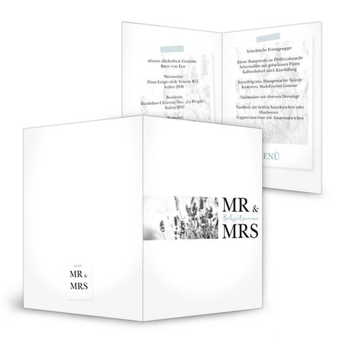 Menükarte zur Hochzeit mit moderner Schrift und Polaroid Foto