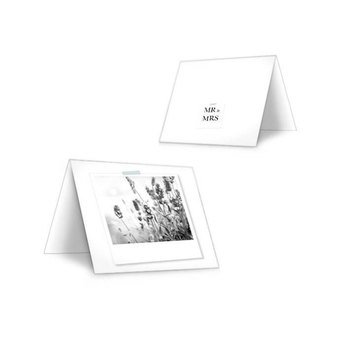 Moderne Tischkarten zur Hochzeit mit Polaroid zum Beschriften