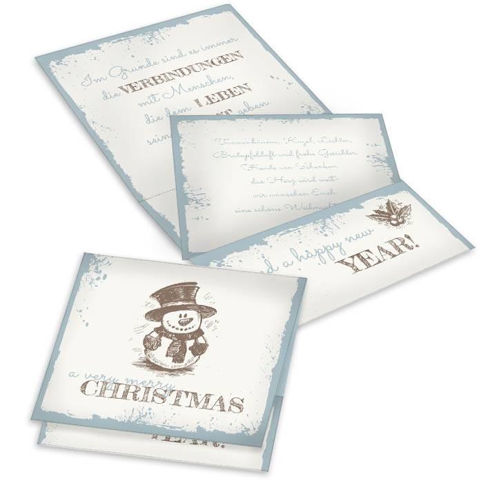 Moderene Grußkarte zu Weihnachten als Pocket in Blau
