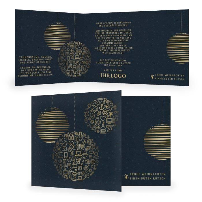 Weihnachtskarte als Klappkarte mit Icons in Blau