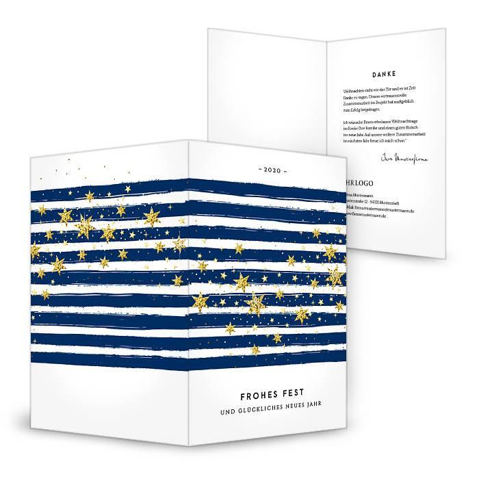 Moderne Weihnachtskarte mit blauen Streifen und Sternen