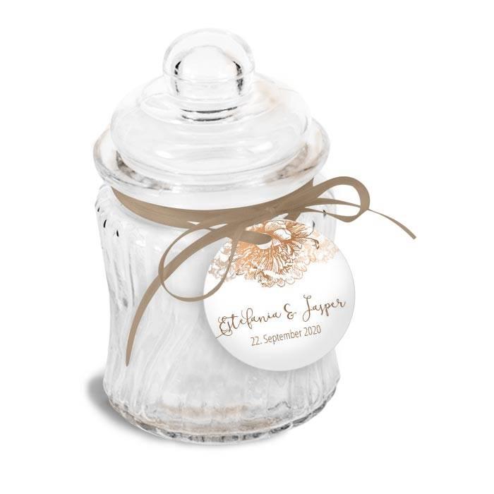 Moderner Geschenkanhänger mit floralem Design in Kupfer