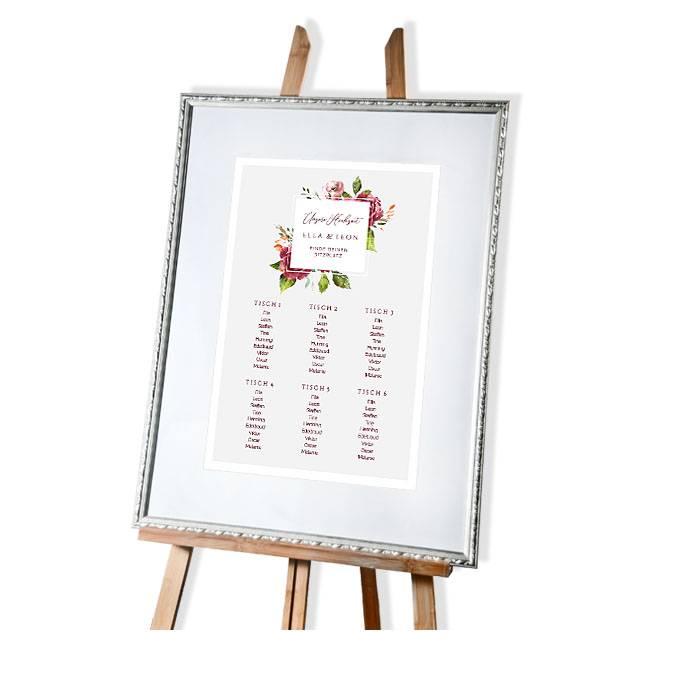 Großer Tischplan zur Hochzeit herbstlichen Aquarellblumen