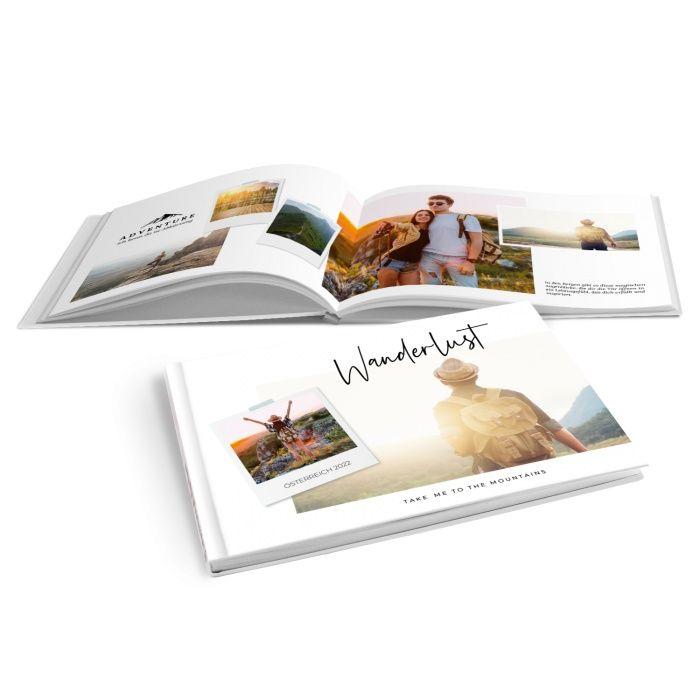 Modernes Fotobuch für Wanderer mit großem Foto und Polaroid