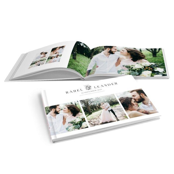 Modernes Fotobuch zur Hochzeit mit floralen & Zeichen