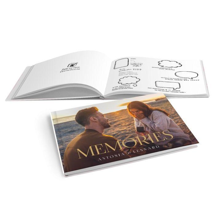 Modernes Gästebuch zur Hochzeit mit Foto und goldfarbener Schrift - Hardcover