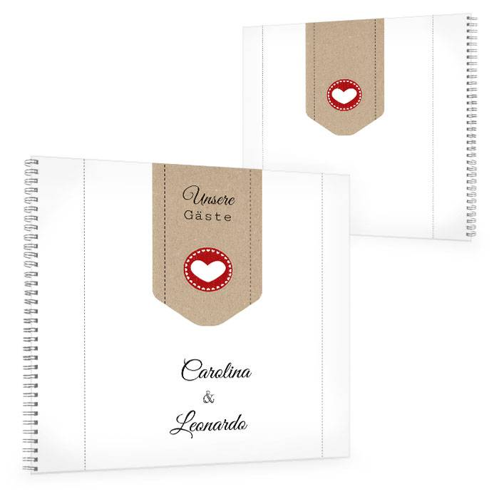 Großes Gästebuch zur Hochzeit mit Kraftpapierlook und Herz