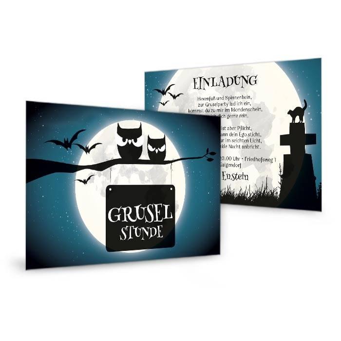 Gruselige Einladungskarte zur Halloweenparty in Türkis