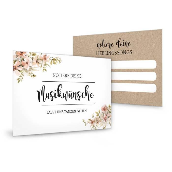 Musikwunschkarte zur Hochzeit mit Aquarellblumen in Nude