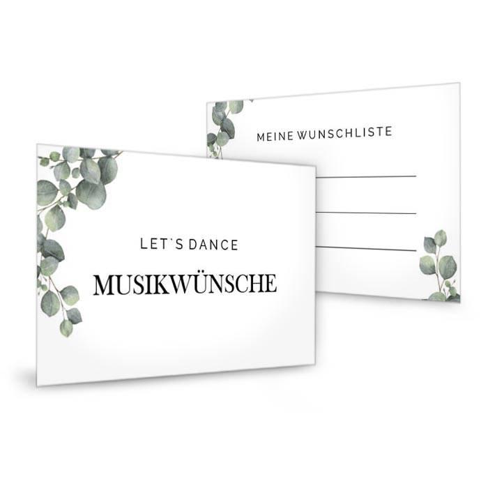 Musikwunschkarte mit Eukalyptuszweigen im greenery Stil