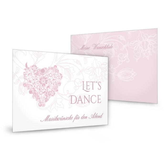 Musikwunschkarte zur Hochzeit mit floralem Herz in Rosa