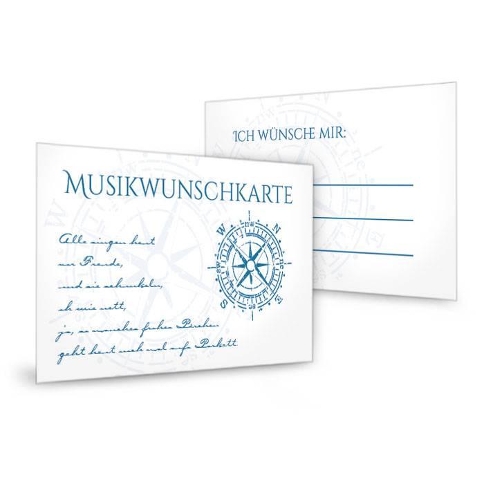 Musikwunschkarten zur maritimen Hochzeit mit Kompass in Blau