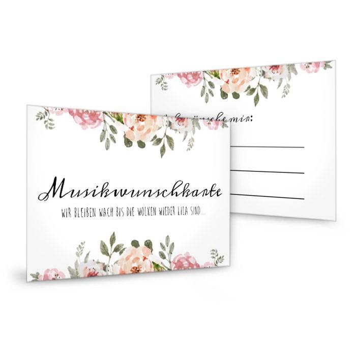 Musikwunschkarte zur Hochzeit mit Aquarell Blütendesign