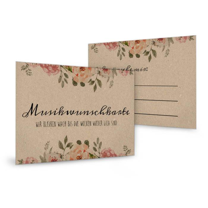 Musikwunschkarte zur Hochzeit in Kraftpapieroptik mit Blüten
