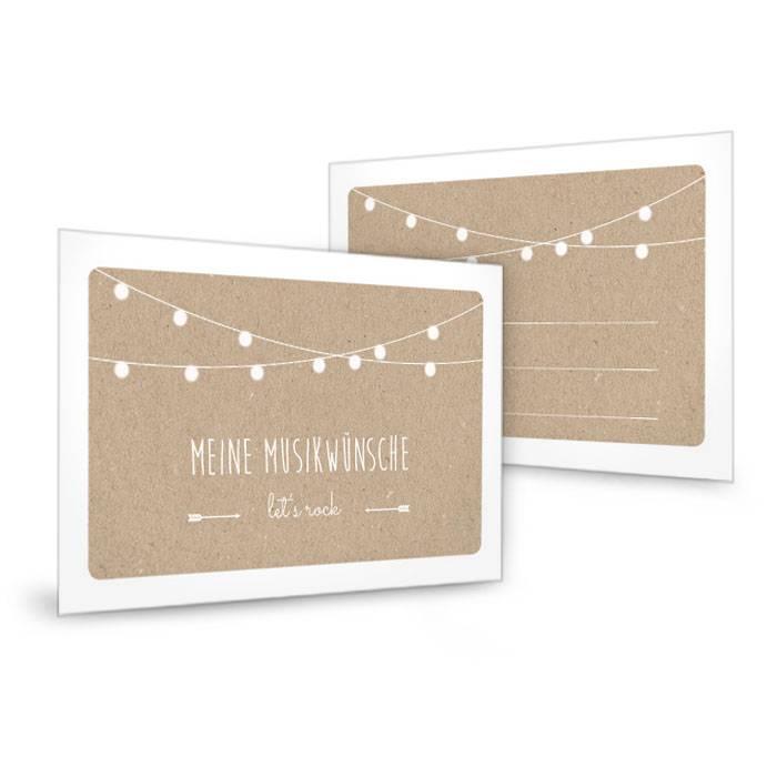 Musikwunschkarte zur Hochzeitsfeier mit Lichterkette