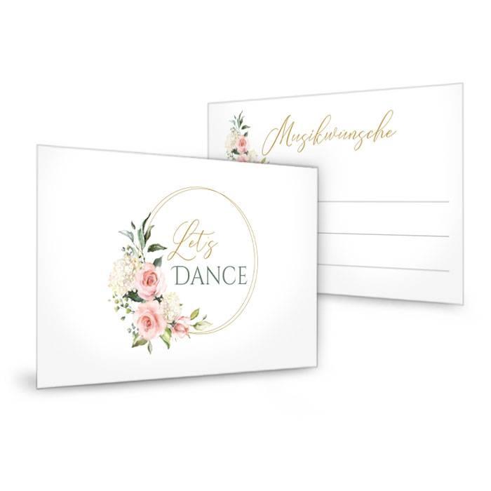 Musikwunschkarte zur Hochzeit mit Goldreif und Rosen