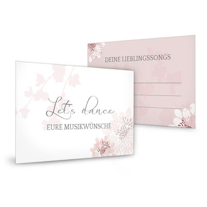 Musikwunschkarten zur Hochzeit im floralen Design in Rosa