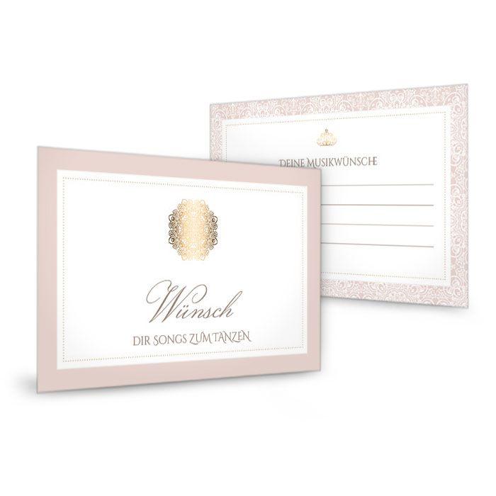 Musikwunschkarten zur Hochzeit in Rosé mit goldenem Element