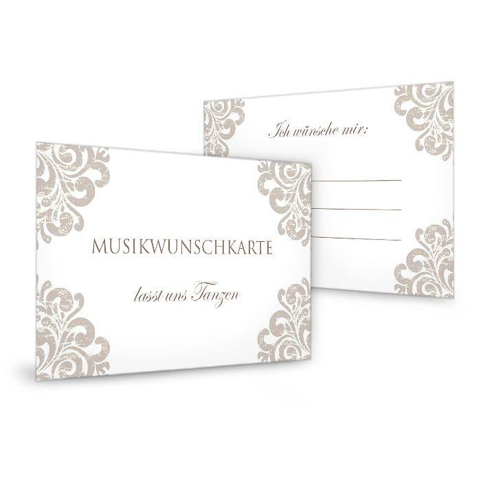 Musikwunschkarten zur Hochzeit mit barockem Muster in Taupe