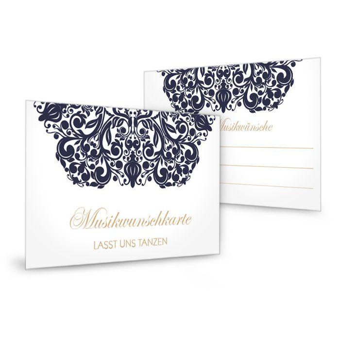 Musikwunschkarten zur Hochzeit mit barockem Ornament in Blau