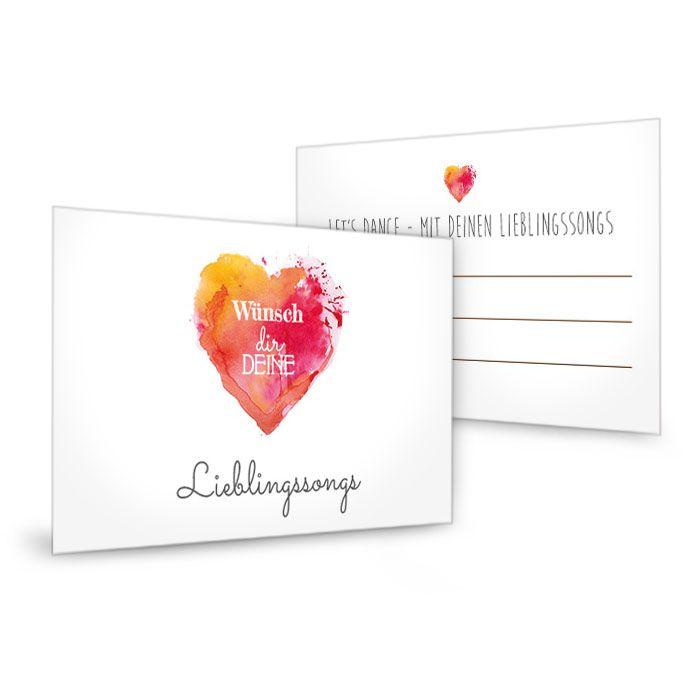 Musikwunschkarte zur Hochzeit mit Watercolor Herz in Rot