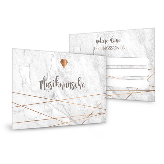 Musikwunschkarten zur Hochzeit in Mamoroptik mit Diamant