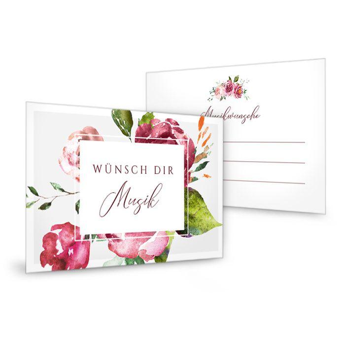 Musikwunschkarte zur Hochzeit mit herbstlichen Aquarellblumen