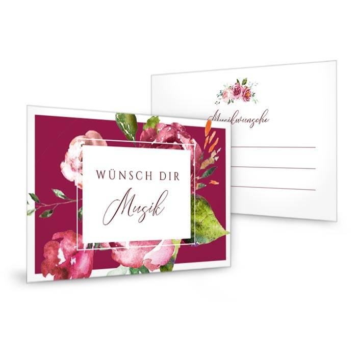 Musikwunschkarte zur Hochzeit mit Aquarellblumen in Bordeaux