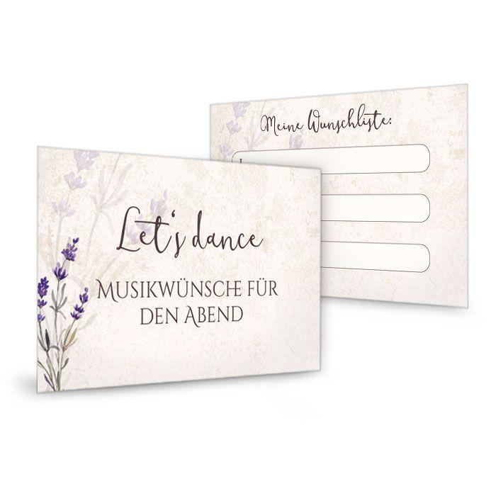Musikwunschkarten mit Lavendel im rustikalen vintage Stil