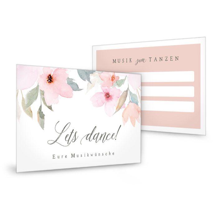 Musikwunschkarte zur Hochzeit mit zarten Blüten in Rose