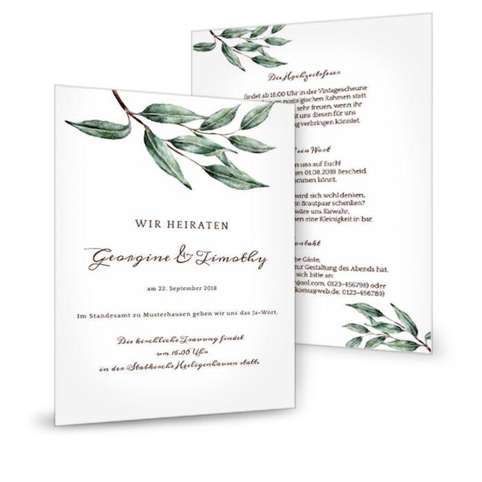 Einladung zur Hochzeit im Greenery Stil mit Olivenzweig