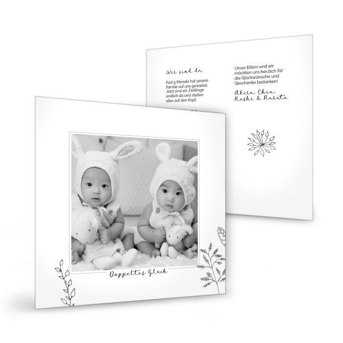 Danksagungskarte zur Geburt von Zwillingen mit zarten Zweigen